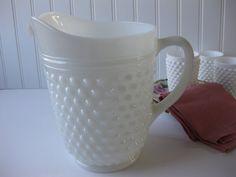 Vintage Milk Glass Hobnail Pitcher by mymilkglassshop on Etsy, $24.50