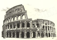 Colosseum Cross Hatching - Hand drawn with fineliner pens on A2 paper.