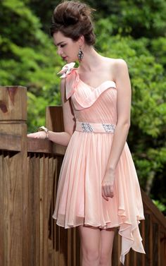 Peach One Shoulder Pleats/Beaded Prom/Ball/Cocktail/Party Dress