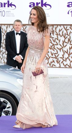 Kate Middleton looked princess perfect in a shimmery pink Jenny Packham dress.