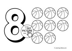 8 Numbers Coloring Pages For Kids Printable Free Digits Books