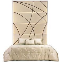 The distinctive hand carved patterning of this unique tall headboard adds a dramatic air of architectural artistry to a contemporary bedroom. Tall Headboard, Headboard Decor, Headboard Designs, Headboards For Beds, Canopy Beds, Bed Designs, Furniture Upholstery, Bed Furniture, Furniture Styles