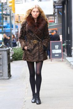 Elsa Hosk @biancaivey #fortheloveoffashion = Elsa Hosk in Fur Coat Out in NYC -07
