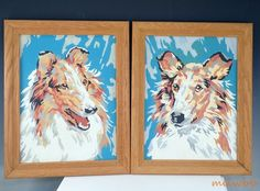 Vintage MCM Mid-Century Paint By Number Collie Pair Framed