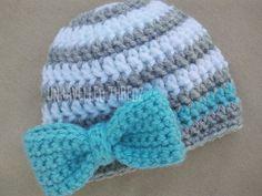Newborn Photo Prop Hat with Bow Crochet Baby by UnravelledThredz