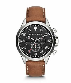 37ab15f95541 Michael Kors Mens Gage Brown Leather Strap Chronograph Watch  Dillards  Cheap Michael Kors