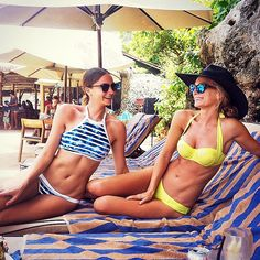 We would love to be chilling poolside in Bali with these babes today! Loving your bikinis ladies @charlotteheinrich