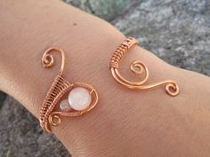 Rose Quartz Copper Wire Bracelet Pink Beaded Wire by TheHempChick, $32.86