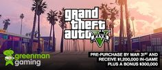 You can get get $1.5 million in-game swag if you pre-purchase  GTA V before March 31st! GO GO GO!! Read more on our blog http://www.blog.playfire.com/2015/03/pre-purchase-gta-v-before-march-31st.html #freebies #GTA  #GMG