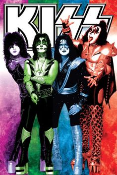 Kiss COLORS Rock Band Portrait Poster  ~ Available at www.sportsposterwarehouse.com