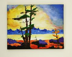"Original Abstract Painting in Acrylic ""Sunset at Tahoe"" on Streched Canvas 8x10 by Charlotte A Champlin - pinned by pin4etsy.com"