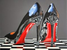 A Perfect Pair Photorealism Oil Painting Daryl Gortner Painting Gallery, Art Gallery, Daryl, Hyper Realistic Paintings, Photorealism, Shoe Art, Painted Shoes, Christian Louboutin, Louboutin Pumps
