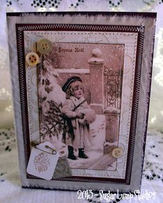 Snowy Morning Joyeux Noel HANDMADE Fabric Christmas Collage Greeting Card
