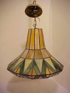 Antique Beautiful Art Deco Stained Glass Ceiling Fixture Lamp Shade Elect. Light