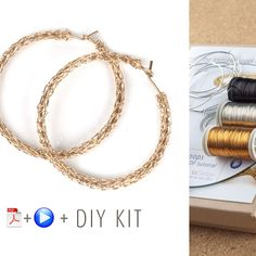 A unique jewelry making kit in Yoola's wire crochet invisible spool knitting technique. with the kit you will learn how to wire crochet fashionable boho hoop earrings. Each design has its own Video tu Diy Jewelry Kit, Jewelry Making Kits, Unique Jewelry, Jewelry Crafts, Diy Necklace, Diy Earrings, Hoop Earrings, Fancy Earrings, Crochet Earrings