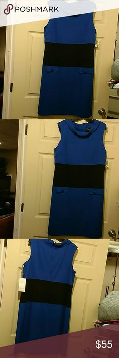 Gorgeous sleeveless Dress Royal blue and black sleeveless dress. Pocket Flaps on the front of the dress with buttons on the flap. Color hangs in the front. Zip up the back. NWT. Just... Taylor Woman Dresses Midi