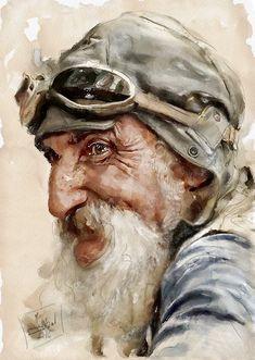 "Photo from album ""Zsigmond István/aqua"" on Yandex. Watercolor Portrait Painting, Portrait Art, Painting & Drawing, Portrait Paintings, Watercolor Trees, Watercolor Artists, Painting Abstract, Acrylic Paintings, Watercolor Landscape"