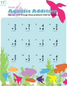 Your first grader can practice addition under the sea with this worksheet that features 12 beginning addition problems and a colorfully fishy theme!
