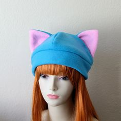 838d12c7bbd Fleece Cat Hat   Bright BLUE BUBBLEGUM PINK Beanie by CosplaySnap Pink  Beanies