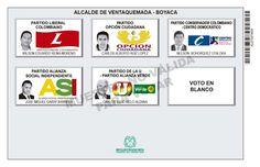 Tarjetón de elección para Alcalde de Ventaquemada