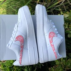 "Image of Air Force 1 ""Pink Louis Vuitton"" Customs Sneakers Fashion Outfits, Fashion Shoes, Souliers Nike, Nike Shoes Air Force, Aesthetic Shoes, Cute Sneakers, Adidas Shoes Women, Hype Shoes, Fresh Shoes"
