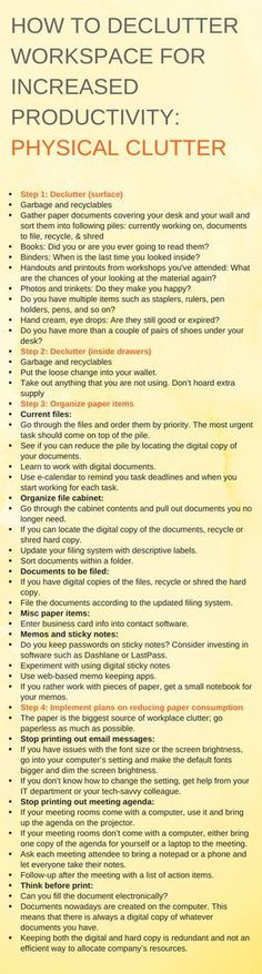 how to get rid of physical clutter in workspace