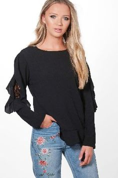 #boohoo Lace Insert Ruffle Sleeve Blouse - black DZZ52060 #Emily Lace Insert Ruffle Sleeve Blouse - black