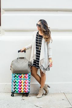 travel style, travel tricks, mz wallace bag, cashmere cardigan, women's fashion, striped dress, fall outfit, travel outfit, cashmere sweater,