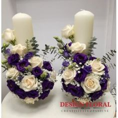 Lumanari nunta scurte lisianthus mov Wedding Decorations, Table Decorations, Wedding Ideas, Flowers Perennials, Pillar Candles, Flower Arrangements, Wedding Flowers, Candle Holders, Sweet