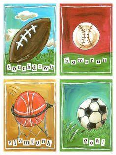 6 Sports kids wall art children\'s sports wall decor by terezief ...