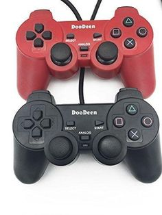 DOODEEN 2 Packs Black and Red Wired Game Pad Controller Joypad Gamepad Joysticks Black for Sony Playstation 2 Ps2