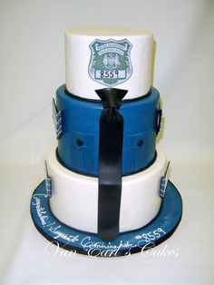 Three tier Philadelphia Police cake design to celebrate office promotion to Sergeant. Cake flavor banana cake with caramel toffee . Cake Cookies, Cupcake Cakes, Cheerleading Cake, Police Cakes, Retirement Cakes, Retirement Planning, Cake Central, Cake Flavors, Cakes For Boys