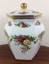 """Royal Albert Old Country Roses Canister, 7.5"""" Tall"""