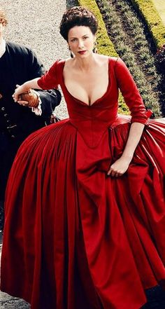 """The Red Dress - Season 2  It took 76 times for Terry Dresbach to get the color she wanted to make this dress!  It was also difficult as the storyline called this dress """"scandalous"""" because there was no corset underneath it.  It's on display at Sak's 5th Ave through April 11th 2016."""