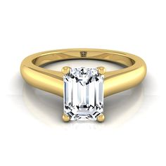Emerald Cut Diamond Solitaire Engagement Ring With Bezel Gallery In 14k Yellow Gold