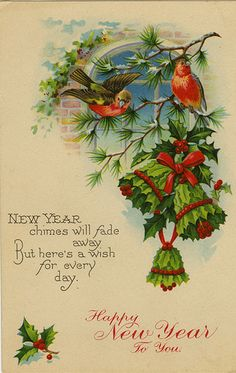 Beautiful New Year's Card Vintage Greeting Cards, Vintage Christmas Cards, Vintage Holiday, Christmas Greeting Cards, Christmas Pictures, Christmas Art, Christmas Greetings, Vintage Postcards, Holiday Cards
