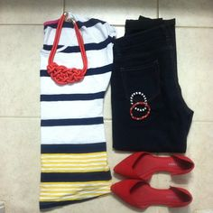 #outfitlayouts #currentlywearing #lookoftheday #ootd #stylemejuly #statementnecklace #jumpinjulystyle #minimalmonday #wiw #stylediaries #myonstyle #oldnavy #maurices #maxxinista #red #stripes #summeroufits