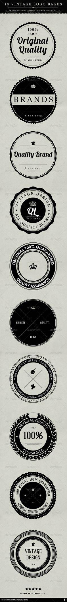 10 Vintage Logo Badges - Badges & Stickers Web Elements