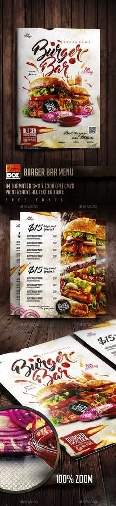 Burger Bar Menu — PSD Template #salad #menu • Download ➝ https://graphicriver.net/item/burger-bar-menu/19022387?ref=pxcr