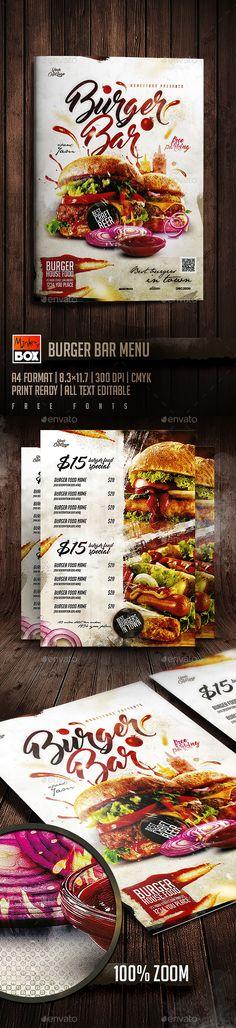 Burger Bar Menu  — PSD Template #salad #menu • Download ➝ https://graphicriver.net/item/burger-bar-menu/19022387?ref=pxcr