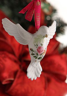 Royal Albert Old Country Roses Dove of Peace Ornament - Would love this for my Christmas tree! White Christmas Ornaments, Christmas Rose, Beautiful Christmas, Christmas Tree Decorations, Spiritual Decor, English Decor, Glass Tea Cups, Light Of Life, Rose Cottage