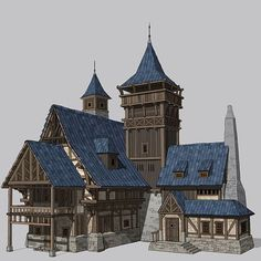 House concept art by hahi YU on ArtStation. – House concept art by hahi YU on ArtStation. Fantasy Town, Fantasy House, Medieval Fantasy, Fantasy Village, Minecraft Medieval, Minecraft Houses, Environment Concept Art, Environment Design, Building Concept