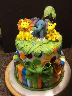 Safari baby shower theme cake www.facebook.com/cakemeawaycakery