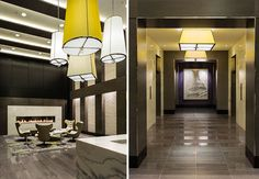 Statement #lighting fixtures provide a sophisticated and intimate #ambiance throughout the #lobby.