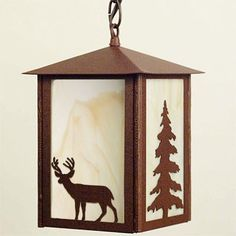 Rustic Cabin Deer Pendant Captures The Spirit Of Northwoods With Two Trophy Buck Images And LightingRustic CabinsPine TreeThe SpiritDeer