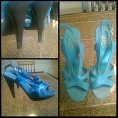 Chaps Sandals Super cute aqua colored sandals by Chaps. The heel is Brown and about 3 inches also have small imperfections on them (shown on picture). The bottom left pic on the cover picture shows the true color of the sandals.  Worn a couple of times.   Open to offers Chaps Shoes Sandals