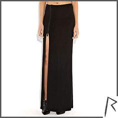 Black Rihanna thigh split maxi skirt - skirts - rihanna for river island - women