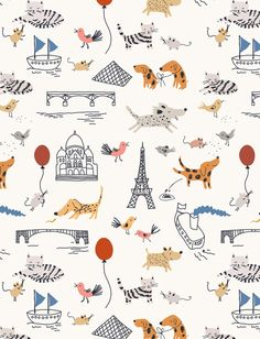 Love this paris & puppies inspired wallpaper. It might be a bit busy for the wall, but it would be great for a bookcase back or as the backdrop in a closet.