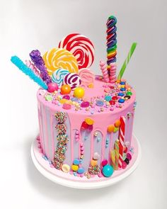 Candy Birthday Cakes, Birthday Cake Girls, Candy Land Cakes, Candy Theme Cake, Candy Land Birthday Party Ideas, Cotton Candy Cakes, Candy Themed Party, Cupcake Birthday Cake, Chocolate Birthday Cake Kids