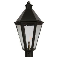 """""""MR. GANTT POST""""  Pictured in Blackened Copper with Seeded Glass. Fixture available in all finishes and glass options.       Dimensions:   Small: 20H x 9W x 9D   Regular: 25H x 13 1/2W x 13 1/2D"""